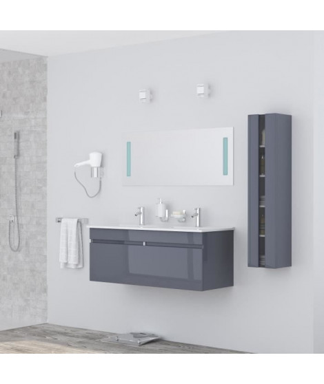 ALBAN Ensemble salle de bain double vasque avec miroir  L 120 cm - Gris laqué brillant