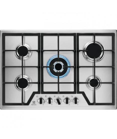 ELECTROLUX KGS7536X - Table de cuisson gaz - 5 brûleurs - 11,8 kW max - L 75 x P52cm - Inox - grilles en fonte