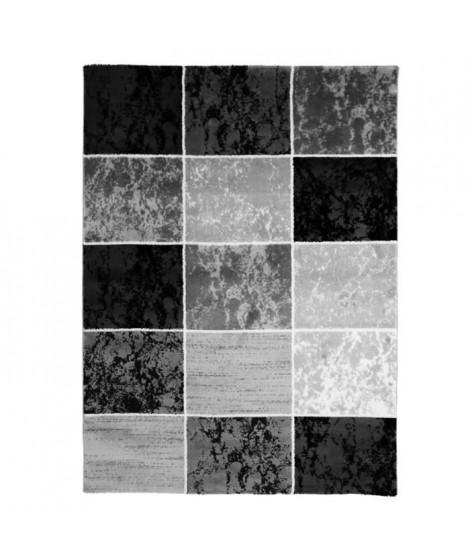 SUBWAY CUBE Tapis de salon en polypropylene - 120x170 cm - Noir