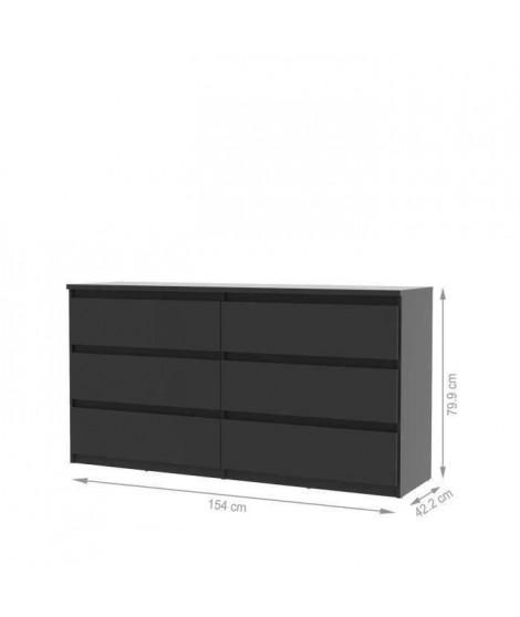 FINLANDEK Commode de chambre NATTI style contemporain noir mat - L 154 cm
