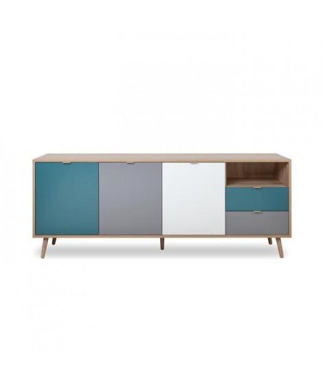 CUBA Buffet bas décor chene sonoma et blanc - Style scandinave - L 180 cm