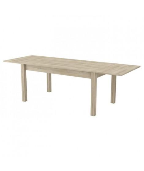 MAJORS Table extensible 90x160/250 - Décor chene brossé - L 160/250 x P 90 x H 77,1