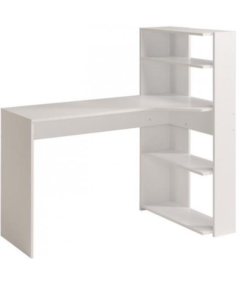 JUNE Bureau d'angle contemporain décor blanc - L 122 cm