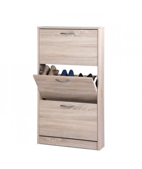 WIESBADEN Meuble a chaussures - Style classique - Décor chene sonoma - L 58 cm