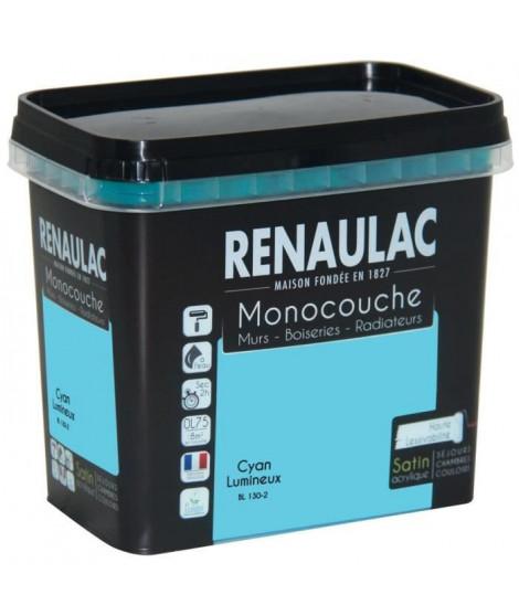 Peinture murale monocouche multi-support 0,75 L cyan lumineux satin Murs / Boiseries / Radiateurs - RENAULAC