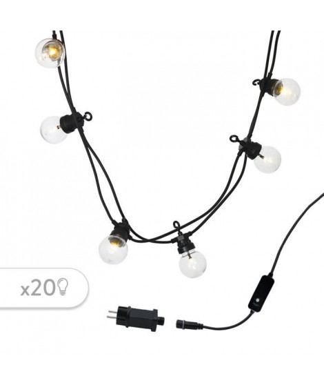 LUMIJARDIN Guirlande 20 ampoules LED - Blanc chaud - Raccordable Party clear