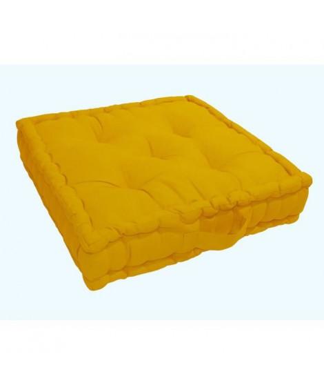 Coussin de sol Grand Format 100% Coton 60x60x15 cm MOUTARDE