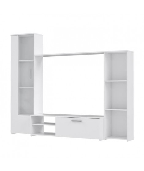 PILVI Meuble TV - Blanc mat - L 220,4 x P41,3 x H177,5 cm