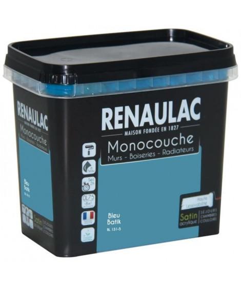 Peinture murale monocouche multi-support 0,75 L bleu batik satin Murs / Boiseries / Radiateurs - RENAULAC
