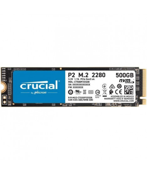 CRUCIAL P2 SSD 500 Go 3D NAND NVMe™ PCIe M.2 2280SS (CT500P2SSD8)