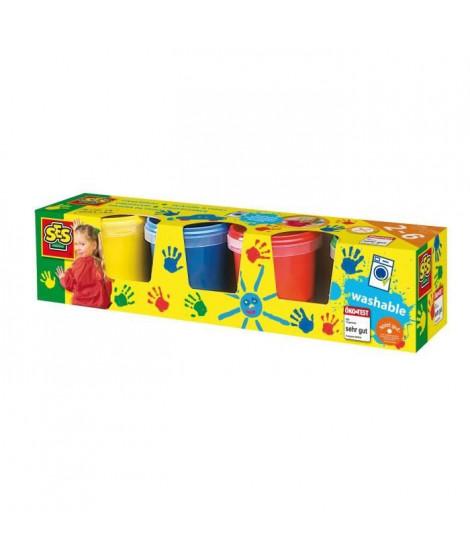 SES CREATIVE Lot de 4 pots de peinture a doigts - 4 couleurs - 150ml