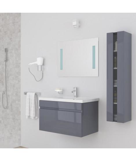 ALBAN Ensemble salle de bain simple vasque avec miroir L 80 cm - Gris laqué brillant