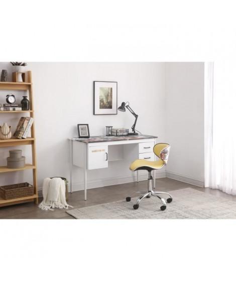 MANHATTAN Bureau 2 tiroirs 1 porte en métal + 1 chaise simili - L 120 x P 55 x 76 cm