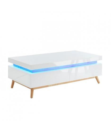 ALANIS Table basse a LED multicolore L 120 cm - Décor chene et blanc