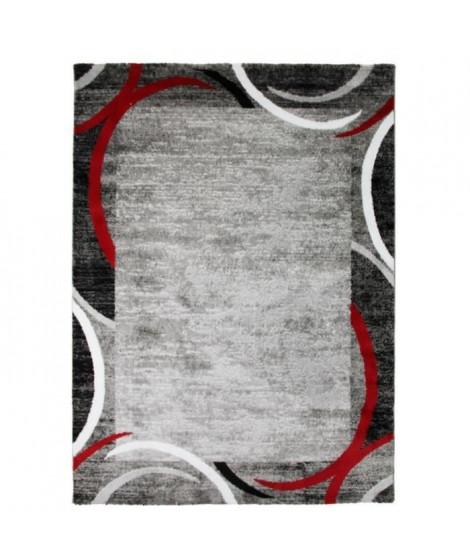 SUBWAY ENCADRE Tapis de salon en polypropylene - 200x290 cm - Rouge