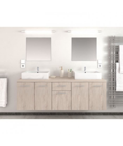 OLGA Salle de bain complete double vasque L 150 cm  - Décor chene san remo