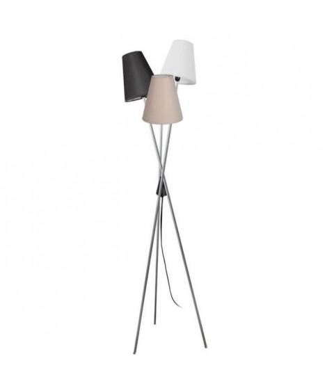 TeTE Lampadaire en acier - Abat-jour Empire Tissu Multi Couleur - 40 x 40 x H160 cm - Aluminium et Noir - E14