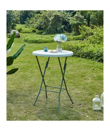 Table mange debout pliable - Ø 80 x 110 cm - Revetement en poudre en tubes d'acier