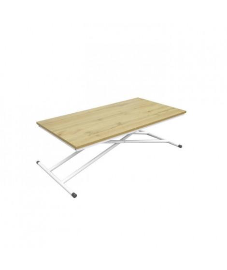SAMANTHA Table Up and Down - Pieds métal blanc et décor chene naturel - L 110 x P 60 x H 39-75 cm