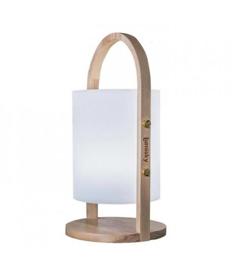 LUMISKY Lanterne sans fil LED Woody - H 37 cm - Blanc