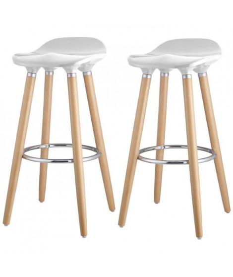 OSLO Lot de 2 tabourets de bar blanc laqué + pieds hetre massif - Contemporain - L 39 x P 40 cm