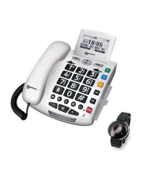 GEEMARC Téléphone filaire grosses touches sénior SERENITIES avec télécommande design