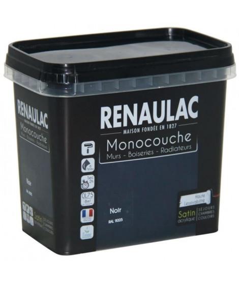 Peinture murale monocouche multi-support 0,75 L noir satin Murs / Boiseries / Radiateurs - RENAULAC