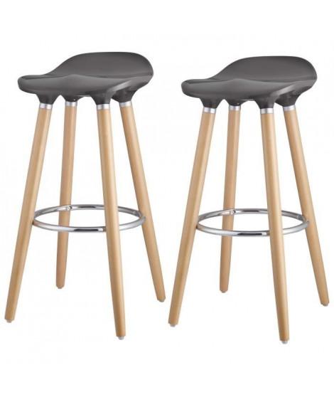 OSLO Lot de 2 tabourets de bar gris laqué + pieds hetre massif - Contemporain - L 39 x P 40 cm
