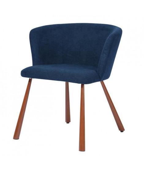 LINDY Fauteuil style contemporain - Tissu bleu nuit - Piétement métallique - L 51,5 x P 55,5 x H 72 cm