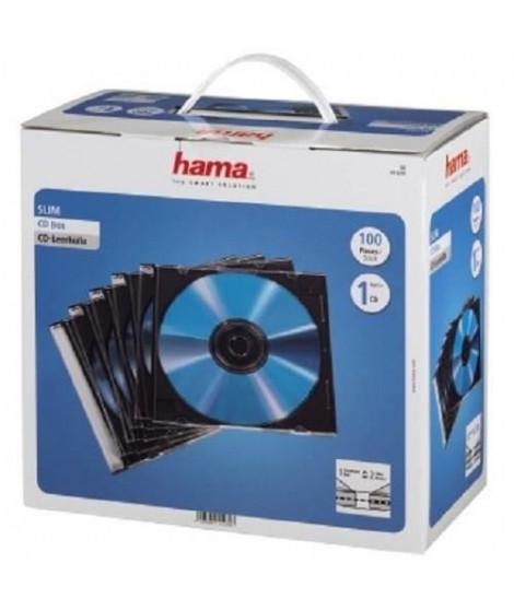 HAMA 00051270 Boîtier CD Slim - Boîte de 100 -Transparent et noir