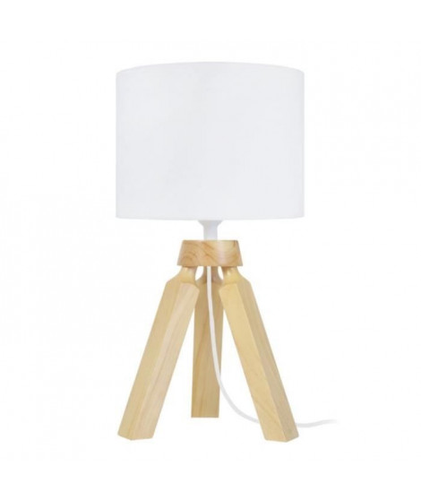 GABY Lampe a poser en bois - Ø16 x H31 cm - Blanc - E14 40W