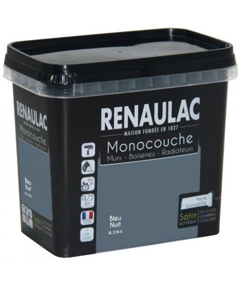 Peinture murale monocouche multi-support 0,75 L bleu nuit satin Murs / Boiseries / Radiateurs - RENAULAC