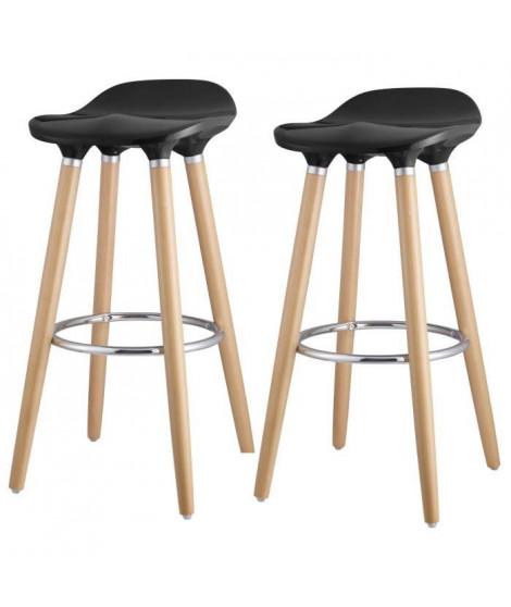 OSLO Lot de 2 tabourets de bar noir laqué + pieds hetre massif - Contemporain - L 39 x P 40 cm