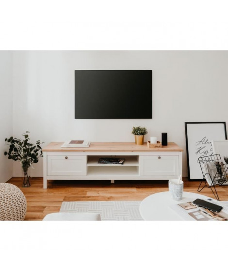 BERGEN Meuble TV 2 tiroirs - Décor chene artisan et blanc - L 160 x P 45 x H 40 cm