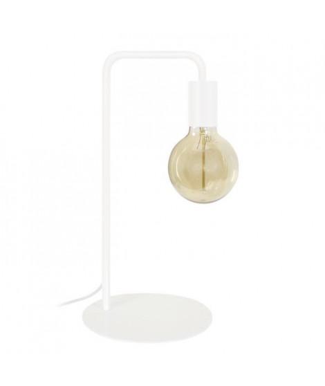NORWICH Lampe a poser en acier - L22 x P18 x H45 cm - Blanc - Ampoule LED 4W E27 comprise