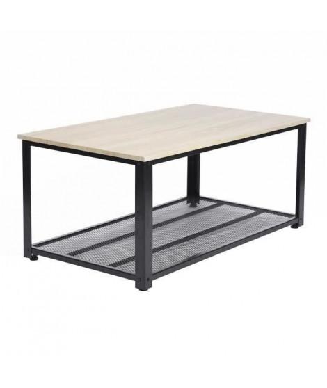 YORK Table basse - Décor chene et noir - L 104 cm