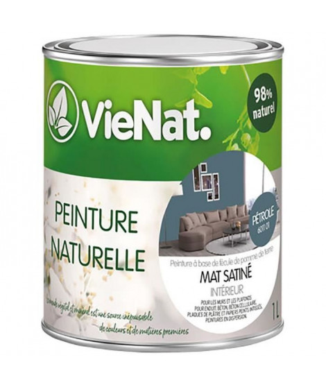 VIENAT Peinture naturelle mur et plafonds mat satinée - 1 L - Pétrole
