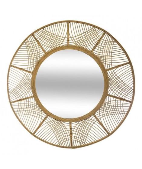 Miroir en bambou - Ø 89 cm - Beige
