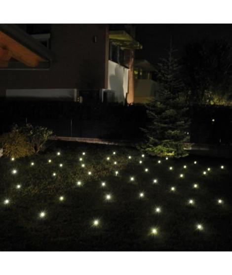LOTTI Guirlande lumineuse 24 lampe mini pieux de jardin 24 LED lumiere fixe - Blanc chaud - 24 m