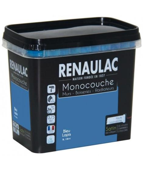 Peinture murale monocouche multi-support 0,75 L bleu lapis satin Murs / Boiseries / Radiateurs - RENAULAC