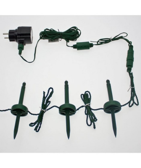 LOTTI Guirlande lumineuse 24 lampe mini pieux de jardin 24 LED lumiere fixe - Blanc froid - 24 m