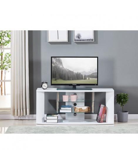 Meuble TV en bois décor sonoma blanc - Etagére en verre - L 119 x P 39,5 x H 50 cm