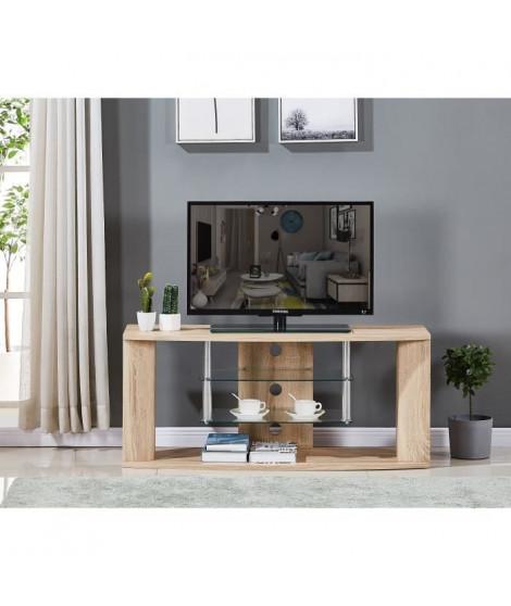 Meuble TV en bois décor sonoma naturel - Etagére en verre - L 119 x P 39,5 x H 50 cm