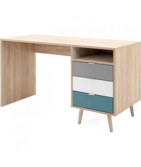 CUBA Bureau 3 tiroirs et 1 niche - Style scandinave - Décor chene Sonoma - L 130 x P 55 x H 75 cm