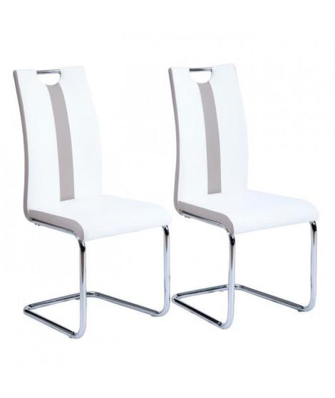 JADE Lot de 2 chaises de salle a manger - Simili blanc et beige - Style contemporain - L 43 x P 58 cm