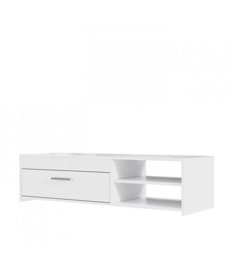 PILVI Meuble TV contemporain - Blanc mat - L 120 x P 42,1 x H 31,8 cm