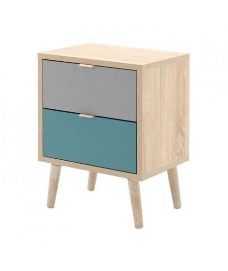 CUBA Chevet 2 tiroirs - Style scandinave - Décor chene Sonoma - L 40 x P 30 x H 52 cm