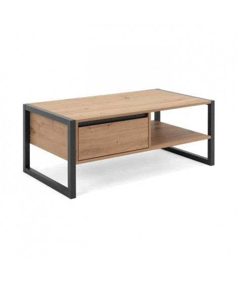DENVER Table basse 1 tiroir - Style industriel - Métal - Décor Chene artisan / Anthracite - L 100 x P 55 x H 40 cm
