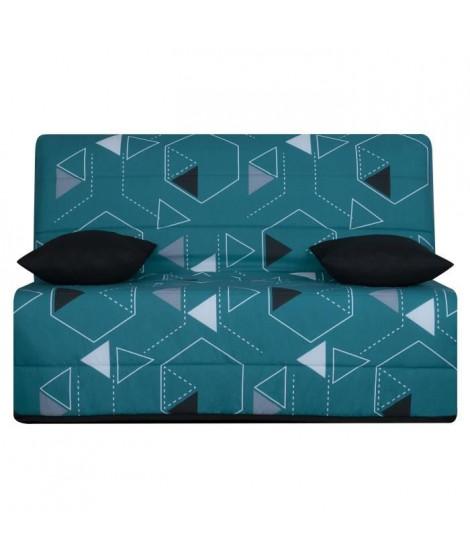 LIOM Banquette BZ 3 places - Tissu Poly Bleu - Style contemporain - L 142 x P 96 cm