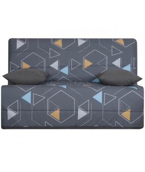 LIOM Banquette BZ 3 places - Tissu Poly Gris - Style contemporain - L 142 x P 96 cm